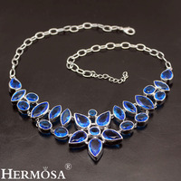 Hermosa Queen Design NEW Style Ocean Bluetopaz 925 Sterling Silver Women Ladies Jewelry Charms Necklaces 20 Inch Free Shipping