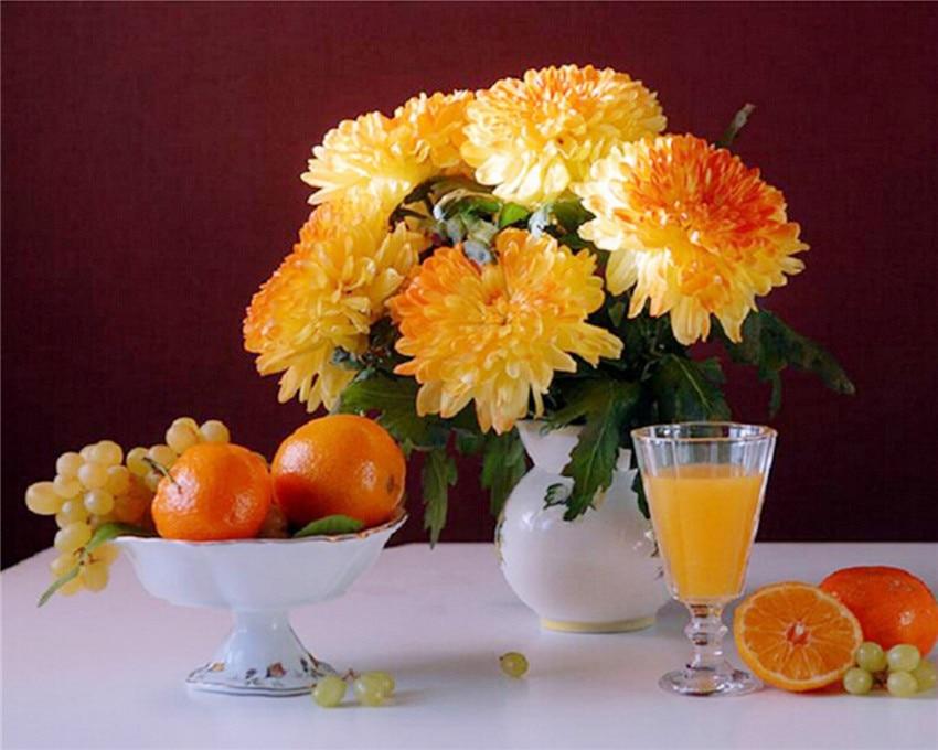 2015 5D Diy Embroidery Orange Chrysanthemum Cube Diamond Painting Cross Stitch Fruits Flower Rhinestone Mosaic Pasted