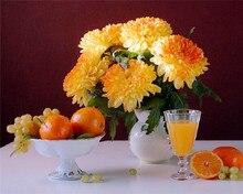 2015 5D Diy Stickerei Orange Chrysantheme Cube Diamant Malerei Kreuzstich Obst Blume Strass Mosaik Eingefügt Malerei