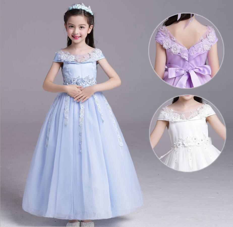 L1N2 White,24M Party Formal Evening Dress Lace Baby Girl Tutu Dresses with Hat