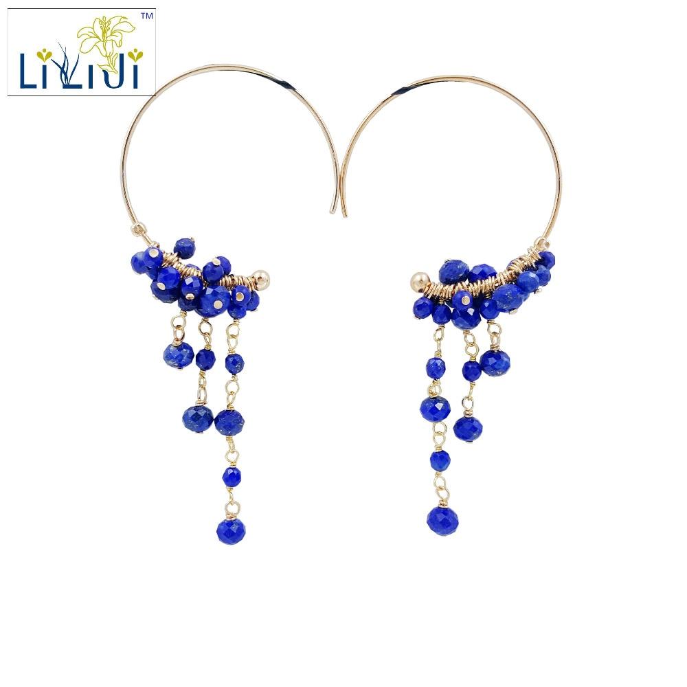 Lii Ji Lapis Lauli Beads,925 sterling silver Handwork Drop Dangle Tassel Earrings цена
