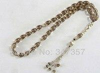 Natural 33 Smoky Quartz Drum Prayer Beads Islamic Muslim Tasbih Allah YT31 Free Shipping