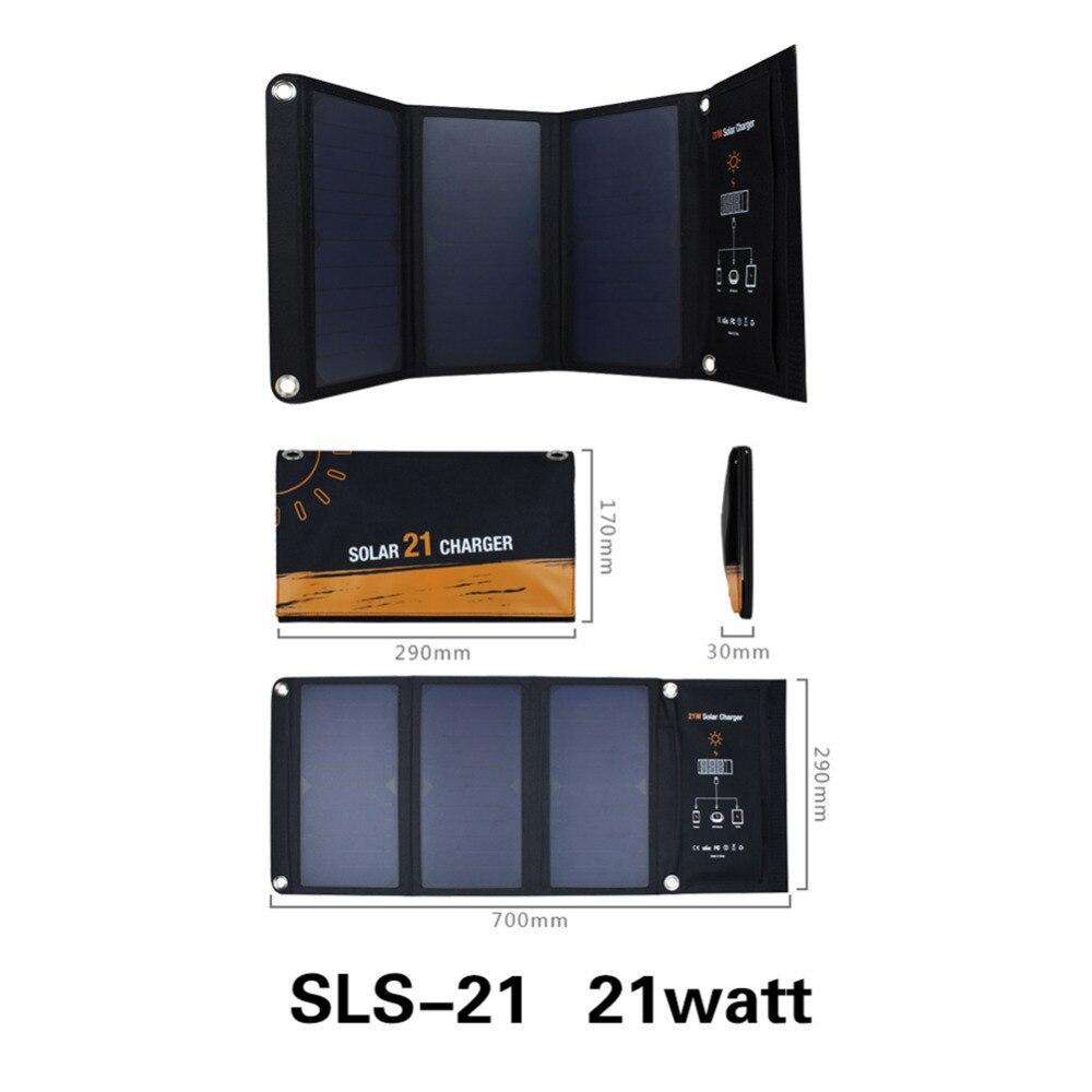 Chargeur de panneau solaire Portable pliable 21 W batterie chargeur de téléphone Portable solaire pour téléphones tablettes ordinateurs portables