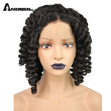 Anogol Glueless  Curly High Temperature Fiber Middle Part Brazilian Hair MediumSynthetic Lace Front Wig For Black Women