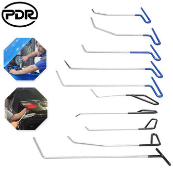 PDR 10 Pcs Tools Automotive Paintless Dent Repair Tools Kit Dent Remover PDR Hail Repair Tool Metal Tap Down PDR Rods image