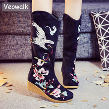 Veowalk Crane Embroidered Women Knee High Canvas Boots Mid Wedge Heel Ladies Comfort Loose Boots Embroidery Winter Shoes Black(China)