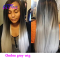 Black and Grey Ombre Heat Resistant Full Wig Cheap Female Long Elegant Straight Synthetic Wig None Lace Wig American Black Women