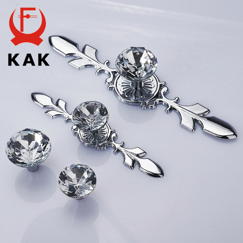 KAK Luxury Diamond Crystal Handles Shoebox Cabinet Handles Closet Door  Drawer Knobs Wardrobe Pulls Pullers With Screws Hardware css clear crystal glass cabinet drawer door knobs handles 30mm