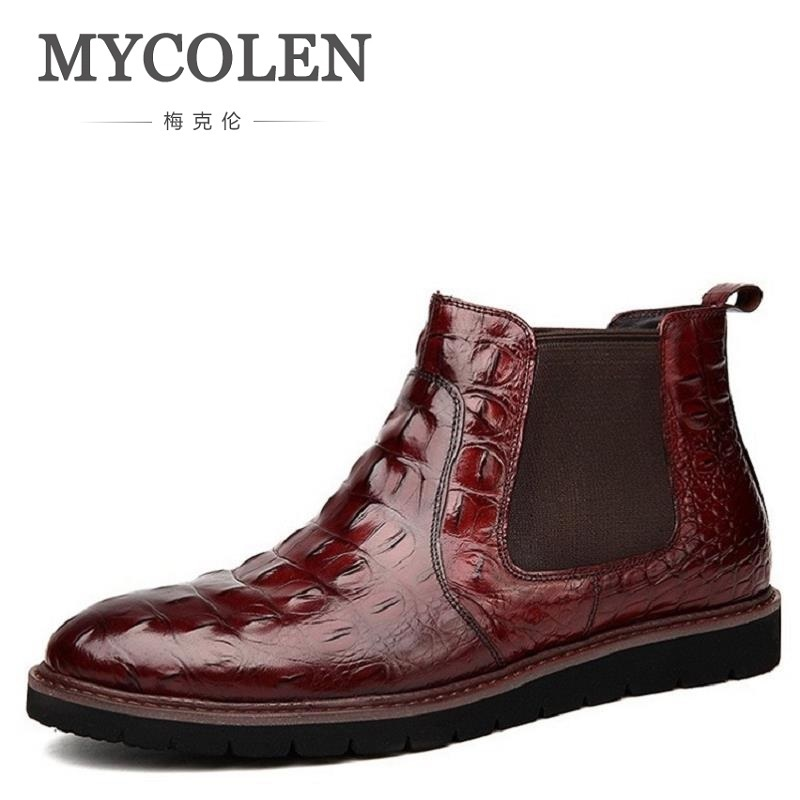 MYCOLEN Brand Leather Men Shoes Autumn Winter Men Boots Cow leather Men Casual Boots Designer Lace-up Shoes Men Kar Botu