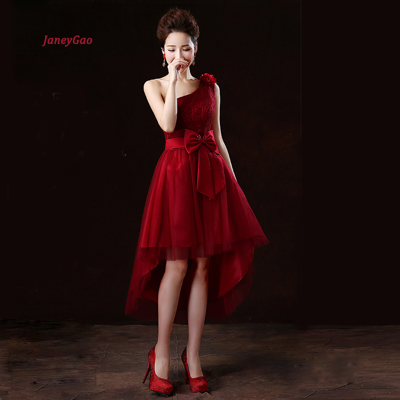 JaneyGao Prom Dresses Short 2019 New Style Women Formal Dress For Prom Party One Shoulder Low Hight Front Short Long Back Style-in Prom Dresses from Weddings & Events