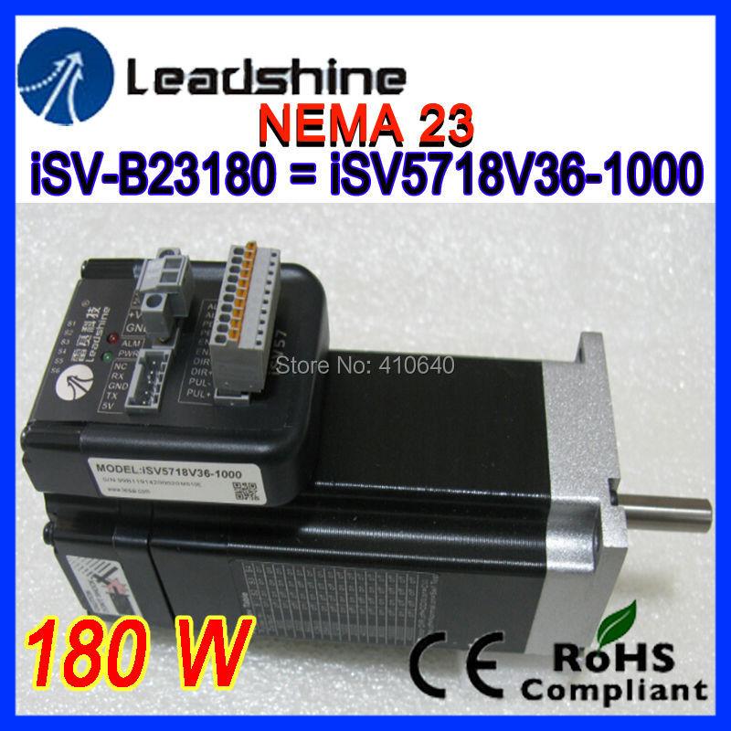 Leadshine NEMA 23 180 W integrated servo motor iSV-B23180 (equal to Leadshine iSV5718V36) with 1000 line encoder + servo drive new 400w leadshine ac servo motor acm604v60 01 1000 work 60v run 3000rpm 1 27nm encoder 1000 line work with servo driver acs806