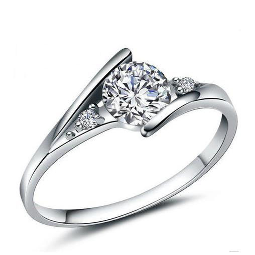 Water Wave White  Wedding Engagement 925 Sterling Silver Ring