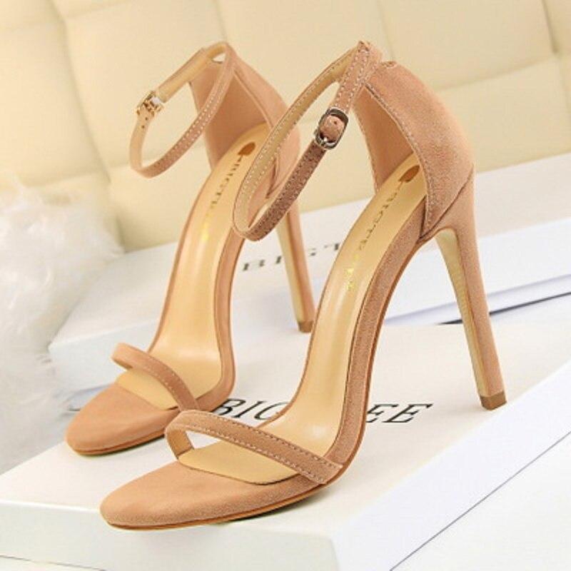 2019 fashion sexy women's sandals stiletto super high heel suede toe word with summer high heels