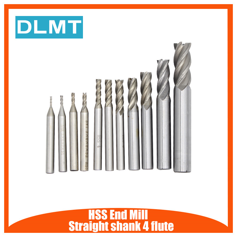 1PC HSS CNC Straight Shank 4 Flute End Mill Cutter Drill Bit Metalworking Tool 1.5/2.5/5/7/9/11/13mm For Milling Machine