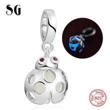 New 925 Sterling silver cute animal firefly glowing pendant beads fit original pandora charm bracelet diy fashion jewelry gifts sg 925 sterling silver cute cock charms beads animal collection fit original pandora bracelet pendant fashion jewelry for gifts