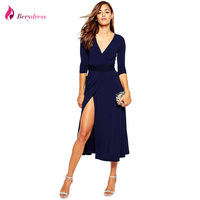 Berydress Elegant Women Cocktail Party Sexy Split V Neck 3 4 Sleeve Belted Mid Calf Length