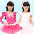 New Design 2 Color Kid Girls Long Sleeve Leotard Gymnastics Cotton Ballet Dance Dress Dancewear