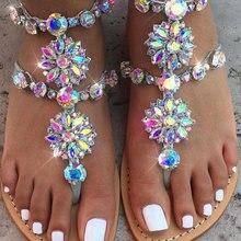 Summer Sandals Women Shoes Rhinestone Flat Sandals Flower Crystal Shoes Woman Slippers Flip Flop Sandalia Feminina 35-42 WSH3323