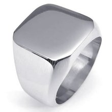 Smooth Silver Tone Gold Tone Black Tone Square Signet Ring Mens Boys 316L Stainless Steel Ring 3 colors US Size 7-15