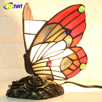 FUMAT Butterfly Night Light Tiffany Glass Butterfly Lights For Living Room Bedside Lamps Home Deco Warm Nursing Night Lamps