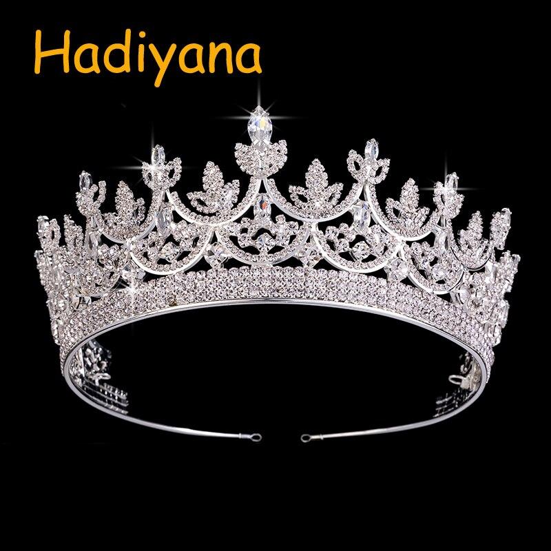 Hadiyana Fashion AAA CZ Rhinestone Bridal Hair Tiaras Amazing Design Wedding Accessories Gold Sliver Big Copper Crown BC3714