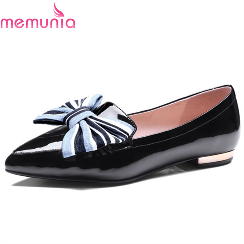 MEMUNIA  new arrive spring autumn shoes women low heel shoes fashion bowknot single shoes pointed toe  fresh simple size 35-39 memunia 2017 fashion flock spring autumn single shoes women flats shoes solid pointed toe college style big size 34 47