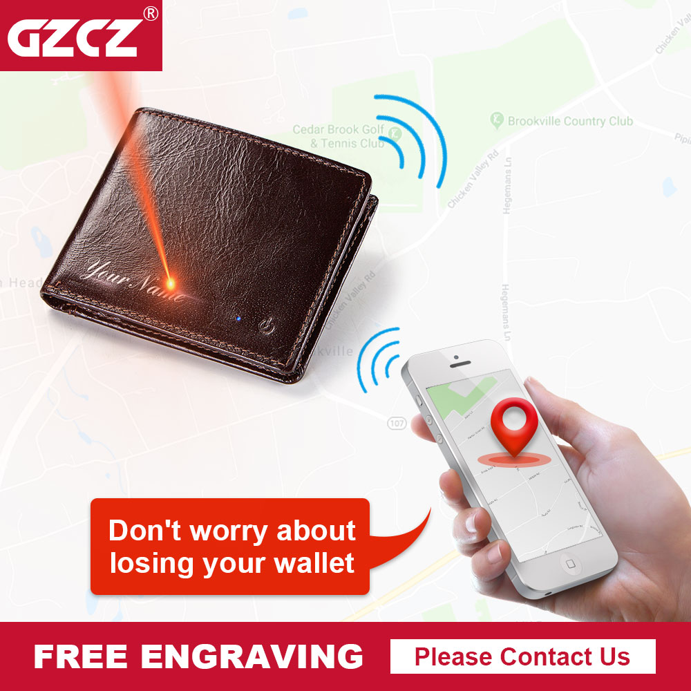 GZCZ Rfid Wallet Purse Intelligent Bluetooth Genuine-Leather Bifold High-Quality Men
