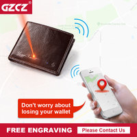 GZCZ Free Engraving Smart Wallet Men Genuine Leather High Quality Anti Lost Intelligent Bluetooth Bifold Rfid wallet Purse Male