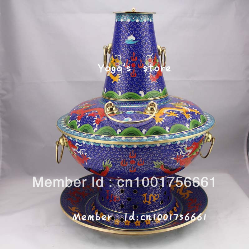 32cm China jewelry enamel copper hot pot thickened Chinese Cloisonne alcohol copper fondue pot copper handmade copper cooking