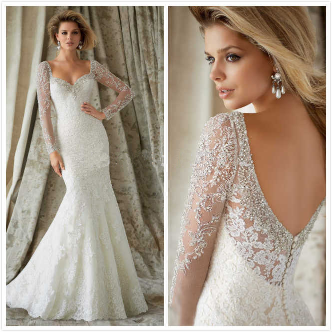 Wedding dress white bodycon long sleeve