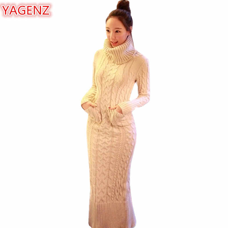 YAGENZ Autumn Winter Womens Clothing Knitting Sweater Dress Fashion Long Section Women High Collar Long Sleeve Sweater Dress 544