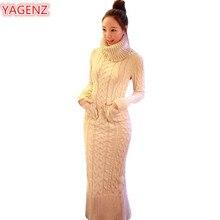 YAGENZ Autumn Winter Womens Clothing Knitting Sweater Dress Fashion Long Section Women High Collar Long Sleeve Sweater Dress 544