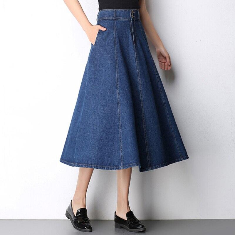 Cheap Big Size Summer Women Girls High Waist A line Jeans Long Denim Skirt Plus Size