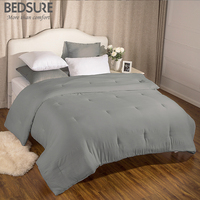 Bedsure Washed Cotton Like Duvet Comforter Insert With Corner Ties Solid Grey Quilted Down Alternative Edredom