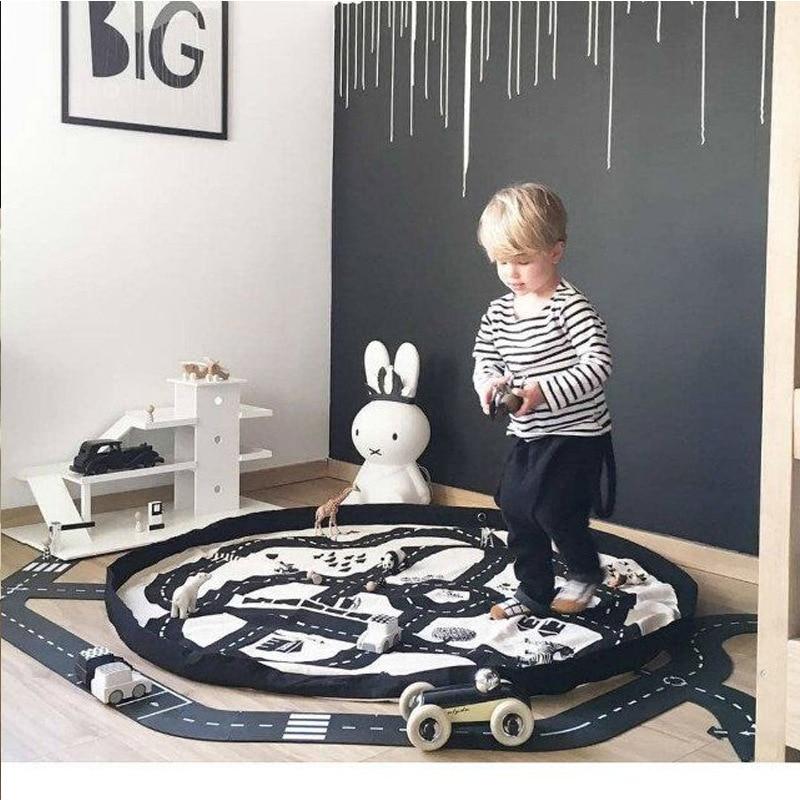 Portable Toy Organizer Storage Bag Kid Play Mat Large Durable Home Decor Adventure Racing Round kids Crawling Rug Carpet Blanket