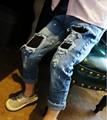 Новый мальчики джинсы девушка свободного покроя рваные джинсы для детей джинсы мальчик джинсы 6J025
