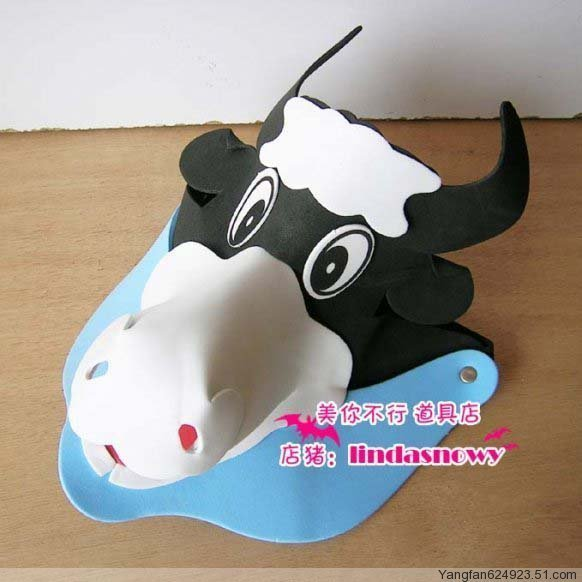 Kindergarten toy animal style hair accessory animal hat child small dairy cow hat hair accessory