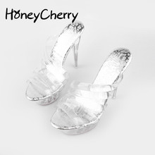 Summer New Transparent Ladies High Heel Sandals Fish Head Sh