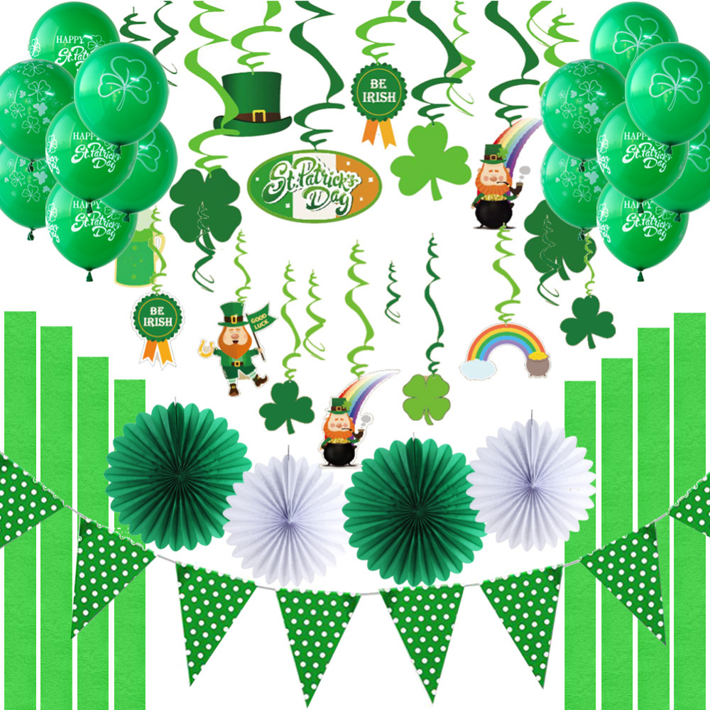Irish Green St Patricks Day Party Decorations Haging Swirl Decorations Shamrock Latex Balloons Paper Fans Polka Dot Pennant Flag
