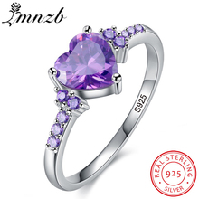 LMNZB New Fashion 100% Fully 925 Sterling Silver Ring Love Heart Romantic Crystal Jewelry Enga...