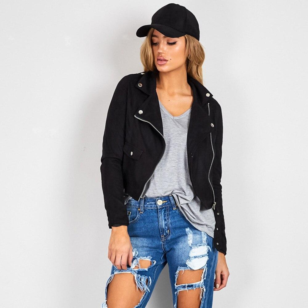 b83e88fba22 2017 Hot Women's Autumn Winter Cool Punk Suede Coats Slim Biker Motorcycle Faux  Leather Zipper Jacket Casual Outwear Plus Size