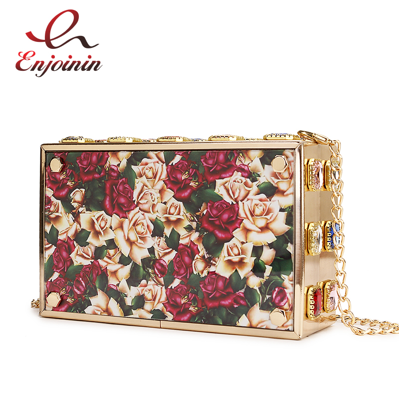 Vintage Flower Crystal Design Luxury Party Womens Clutch Dinner Bag Mini Chain Purse Female Crossbody Messenger Bag For WomenVintage Flower Crystal Design Luxury Party Womens Clutch Dinner Bag Mini Chain Purse Female Crossbody Messenger Bag For Women