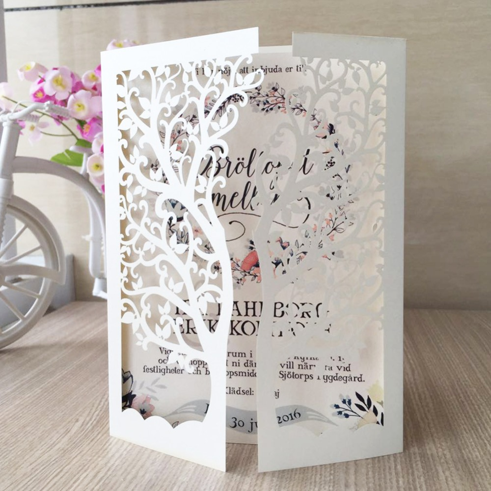 30pcs/Lot Laser Cut Tree Inviting Card Paper Party Event Supplies ...