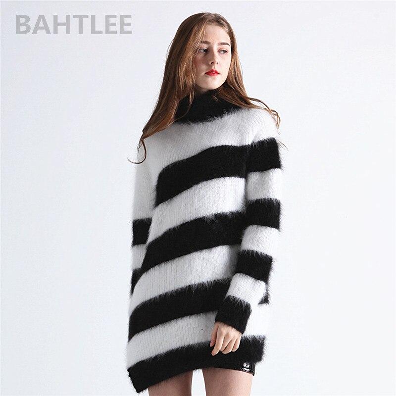 BAHTLEE 2018 Autumn winter women s wool angora rabbit turtleneck pullovers sweater O NECK fashion brand