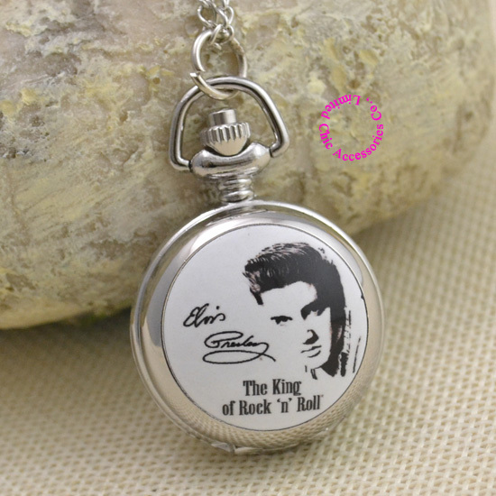 fashion Elvis Presley Pocket Watch Necklace woman fob watches girl lady child kid kind rock n roll silver - & Jewelry store