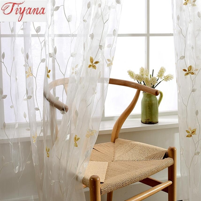 Small Fresh Gold Leaves Yarn Simple Modern Curtains For Living ...