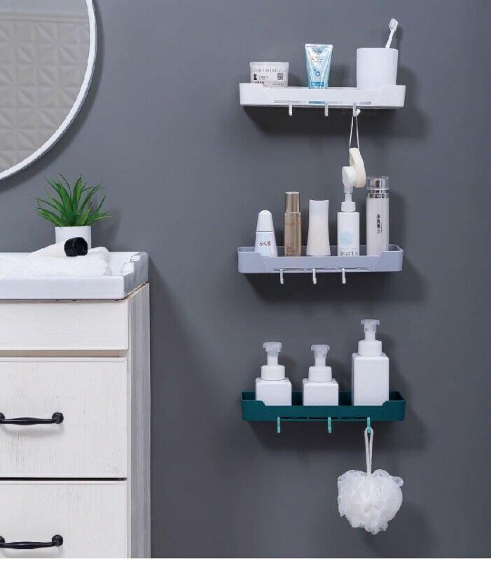 New Fashion Nordic Bathroom Shower Shelf Tidy Suction Rack Stick Holder Wall Storage Organiser
