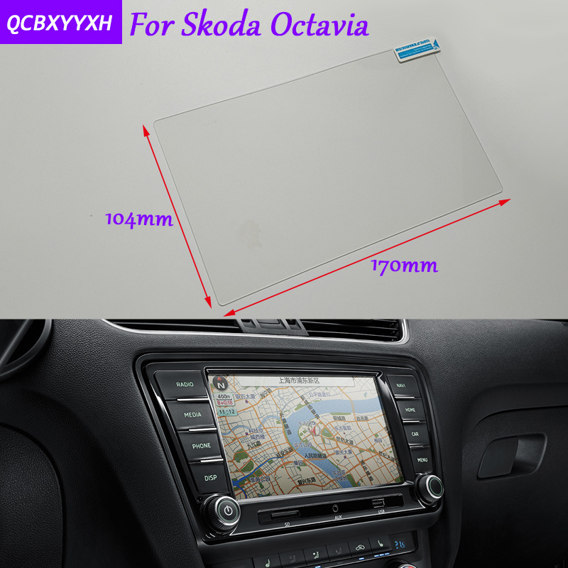 Car Sticker 8 Inch GPS Navigation Screen Glass Protective Film For Skoda Octavia Accessories Control of