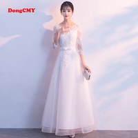 DongCMY Prom Dresses Long White Color Lace Flower Women Married Party Dress Gown