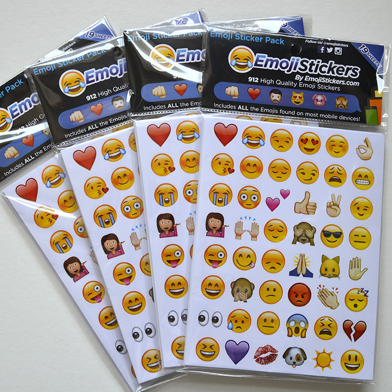 Hot 19 sheets/ 20 sheets Emoji Stickers 912/960 Die Cut Smily Face DIY Stickers For Phone Notebook Gift 5 sheets cut sticker 48 emoji smile face stickers for notebook laptop message twitter large viny instagram